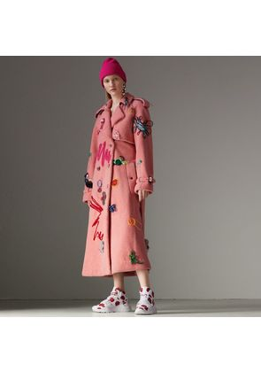 Burberry Embellished Shearling Trench Coat, Size: 02, Pink