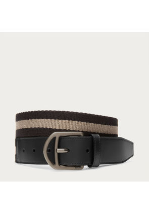 Bally Novo 35Mm Multicolor, Men's woven fabric fixed belt in black and beige