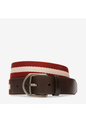 Bally Novo 35Mm Red, Men's woven fabric fixed belt in Bally Red and beige