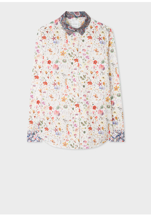 Women's Cream Liberty Print Shirt With Contrast Details