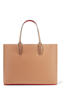 Christian Louboutin - Cabata Spiked Textured-leather Tote - Beige