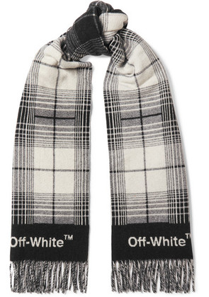 Off-White - Fringed Checked Wool-blend Scarf - Black