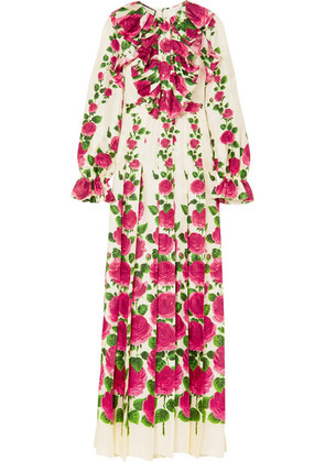 Gucci - Ruffled Floral-print Silk-twill Gown - Pink