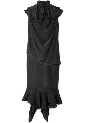 JW Anderson - Ruffled Silk Midi Dress - Black
