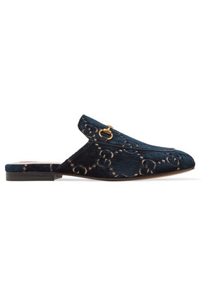 Gucci - Princetown Horsebit-detailed Leather-trimmed Embroidered Velvet Slippers - Midnight blue