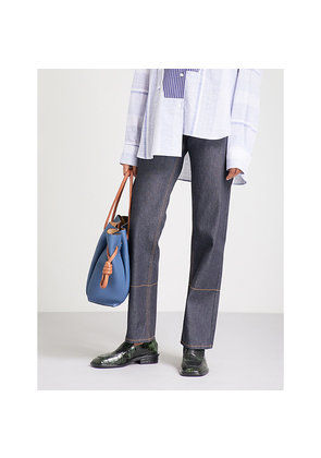 Topstitched mid-rise straight jeans