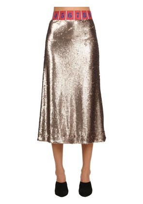 SEQUINED STRETCH MIDI SKIRT