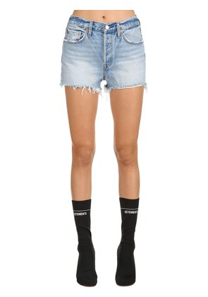 501 HIGH RISE FRINGED DENIM SHORTS