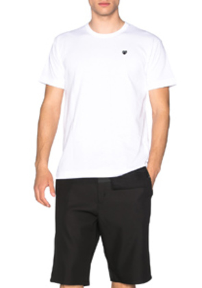 Comme Des Garcons PLAY Small Black Emblem Cotton Tee in White