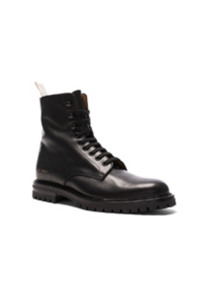 Common Projects Leather Winter Combat Boots in Black