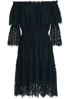 Perseverance Woman Off-the-shoulder Corded Lace Dress Navy Size 6