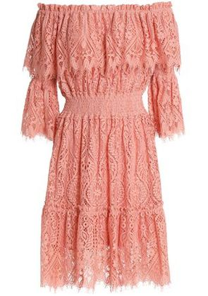 Perseverance Woman Off-the-shoulder Corded Lace Dress Antique Rose Size 6
