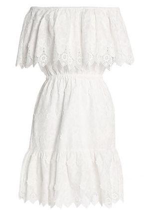 Perseverance Woman Off-the-shoulder Crochet-trimmed Embroidered Cotton Dress White Size 8