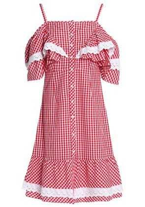 W118 By Walter Baker Woman Carter Cold-shoulder Ruffled Gingham Cotton-poplin Dress Red Size XS