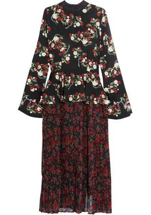 Mother Of Pearl Woman Andres Floral-print Silk Dress Black Size 6