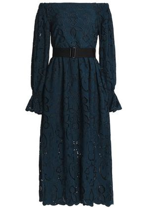 Perseverance Woman Off-the-shoulder Belted Broderie Anglaise Midi Dress Storm Blue Size 6