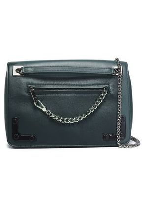 Furla Woman Chain-trimmed Leather Shoulder Bag Dark Green Size -
