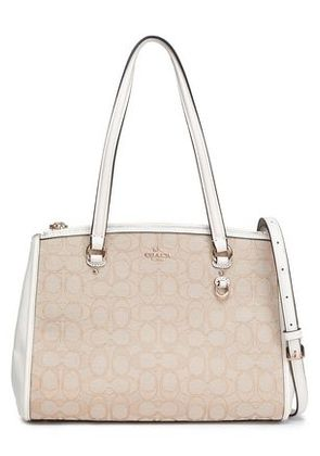 Coach Woman Leather-trimmed Jacquard Shoulder Bag White Size -