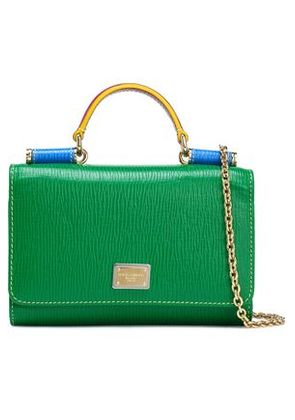 Dolce & Gabbana Woman Von Color-block Textured-leather Shoulder Bag Green Size -
