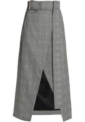 Solace London Woman Checked Wool Wrap Skirt Gray Size 10