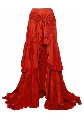 Cinq À Sept Woman Asymmetric Tie-front Ruffled Satin Skirt Red Size 4