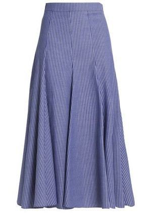 Tome Woman Pleated Pinstriped Cotton-blend Midi Skirt Navy Size 6