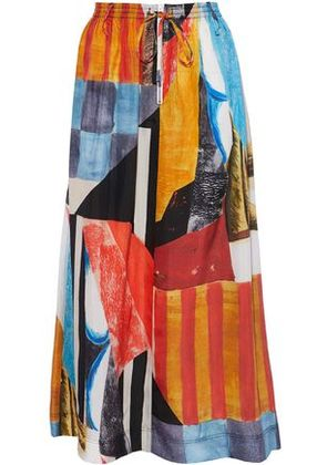 Joseph Woman Gathered Printed Silk-satin Maxi Skirt Multicolor Size 40