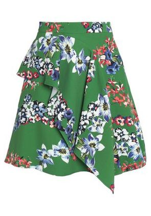 Msgm Woman Layered Printed Crepe Mini Skirt Green Size 42