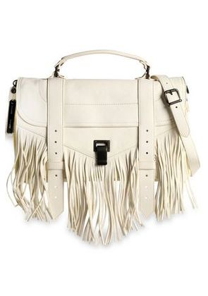 Proenza Schouler Woman Ps1 Fringed Brushed-leather Shoulder Bag Ivory Size -