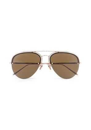Linda Farrow Woman Aviator-style Aceate And Gold-tone Sunglasses Rose Gold Size -