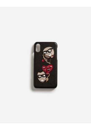 Dolce & Gabbana Hi-Tech Accessories - IPHONE X COVER IN DAUPHINE CALFSKIN WITH PATCHES OF THE DESIGNERS BLACK