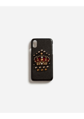 Dolce & Gabbana Hi-Tech Accessories - CALFSKIN IPHONE X COVER WITH CROWN PATCH BLACK