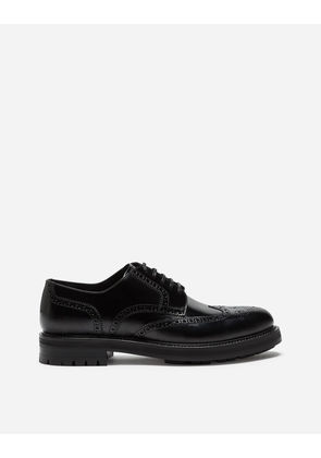 Dolce & Gabbana Lace-Ups - FULL BROGUE DERBY SHOES IN BRUSHED CALFSKIN BLACK
