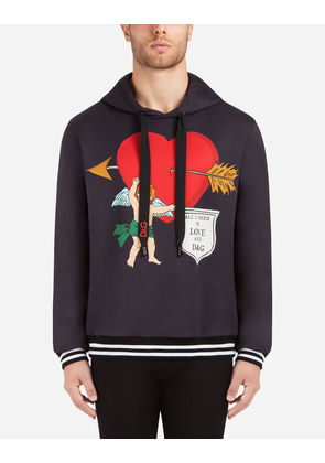 Dolce & Gabbana Sweaters - PRINTED COTTON SWEATSHIRT WITH HOOD BLACK