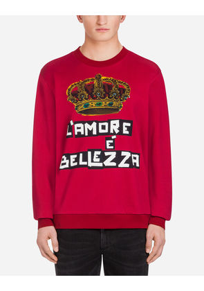 Dolce & Gabbana Sweaters - PRINTED COTTON SWEATSHIRT RED