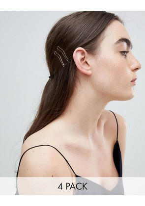 ASOS DESIGN pack of 4 cut out stacking hair grips in gold - Gold