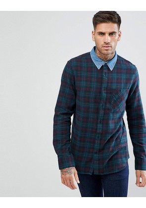 New Look Check Shirt With Denim Collar In Green - Green pattern