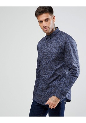 New Look Regular Fit Shirt With Leopard Print In Blue - Mid blue