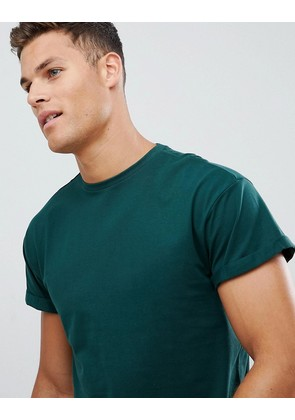 New Look t-shirt with roll sleeve in green - Mid green