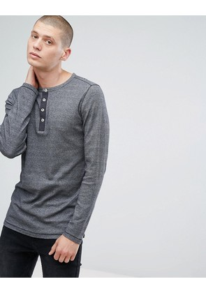 Jack & Jones Vintage Long Sleeve T-Shirt With Henley Neck - Caviar