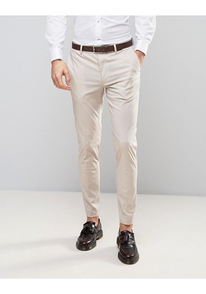 ASOS Wedding Skinny Suit Trouser In Stretch Cotton In Putty - Putty