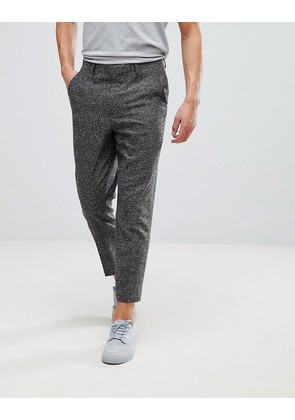 ASOS Tapered Smart Trousers In Charcoal Texture - Charcoal