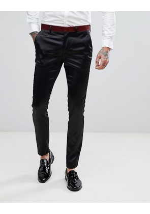 ASOS Super Skinny Tuxedo Suit Trousers In Black With Glitter Waistband - Black