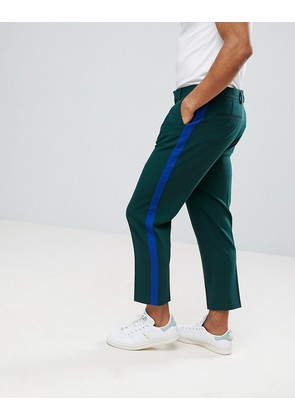 ASOS Tapered Smart Trousers In Dark Green With Blue Side Stripe - Dark green