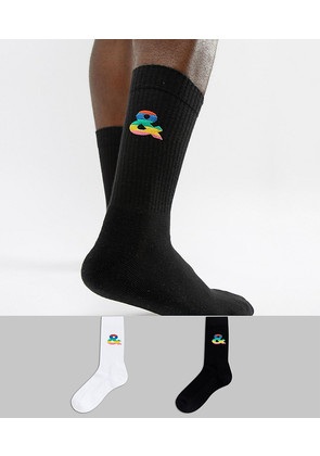 ASOS DESIGN x glaad& 2 pack socks with embroidery - Black