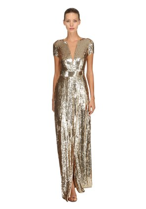 BACK CUTOUT SEQUINED LONG DRESS