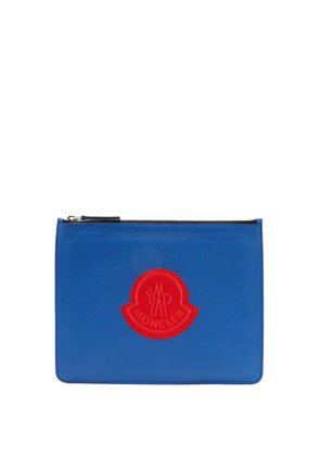 Logo-patch leather pouch