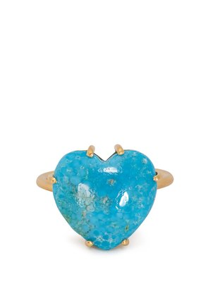 Turquoise and yellow-gold ring