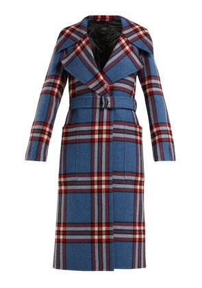 Teodor belted wool check coat