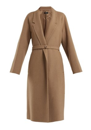 Solferino belted camel-hair coat